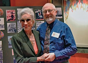 Shirley Claire, an Earl Carroll showgirl, with LAHTF Executive Director Escott O. Norton