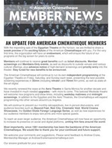 American Cinematheque Member Newsletter, 27th June 2019